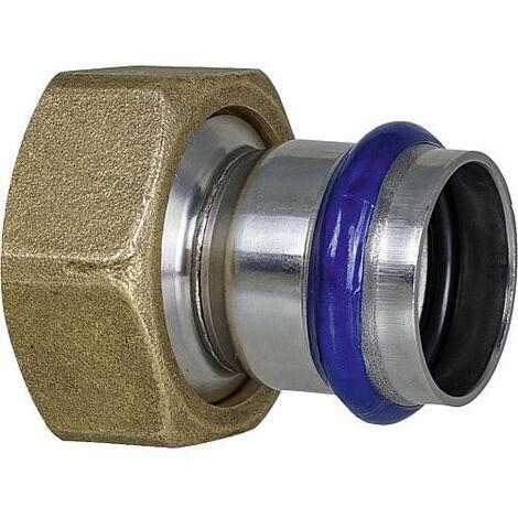 """Raccord a sertir inox contour V, raccord a vis, avec joint plat, 15mm x DN20 (3/4"""")"""