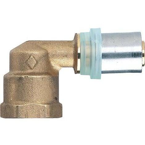 """Raccord a sertir multicouche coude 90° reducteur filet. fem. 14x2mm - 1/2"""", contour TH"""