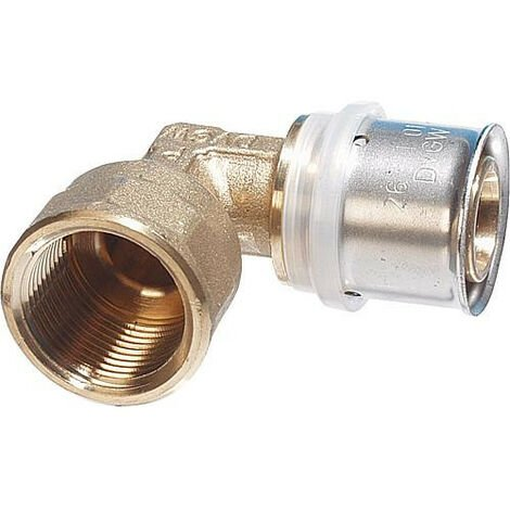 """Raccord à sertir multicouche coude 90° réducteur filet femelle 20x2mm - DN15 (1/2""""), contour TH"""