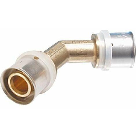 Raccord a sertir pour tube multicouche, coude 45° 26x3 - 26x3