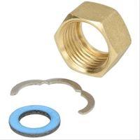 Raccord à vis F pour flexible inox solaire avec écrou, bague et joint 3/4'' Dn16