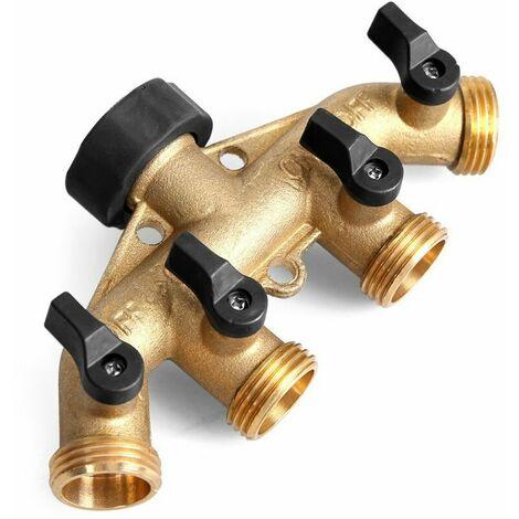 Raccord de Tuyau Laiton d'arrosage 4 Sorties Distributeur Débit d'eau Réglable et Verrouillable - 4 Voies Séparateur de Tuyau Répartiteur Adaptateur pour l'irrigation du Jardin Robinet 2pcs