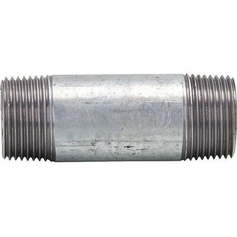 "raccord double tube, galvanise 3/8"", 40 mm mâle/mâle"