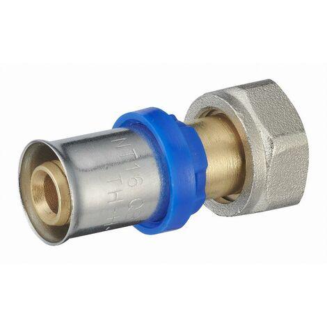Raccord droit à sertir multiprofil TH-H-U pour tube multicouche NOYON & THIEBAULT - Ø 16 mm à visser femelle écrou libre F3/8 (12x17) - 310201