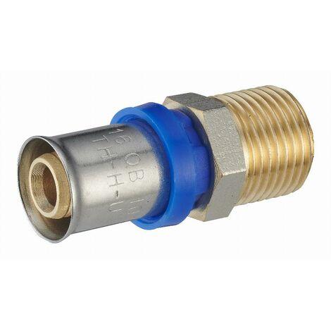 Raccord droit à sertir multiprofil TH-H-U pour tube multicouche NOYON & THIEBAULT - Ø 16 mm à visser mâle M1/2 (15x21) - 310102