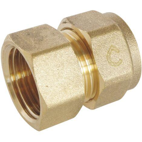 Raccord droit femelle à compression pour tube PER - Filetage: 15x21 - Ø PER: 13x16
