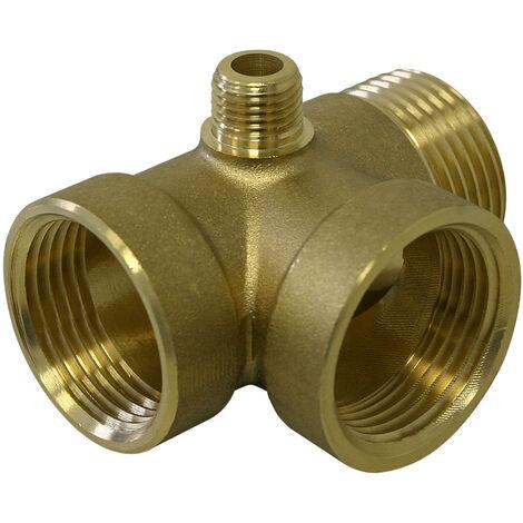 """Raccord en laiton 4 voies DN25 1"""" DN13 1/4"""" pour Réservoir à vessie réservoirs sous pression"""