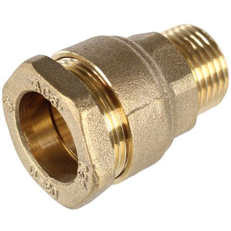 sourcing map 1BSP Filetage m/âle laiton 1/à 25 mm pour tuyau raccord droit raccord adaptateur