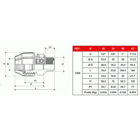 """Raccord plastique tube PE Ø40 - Droit mâle réduit 1"""" (26/34)"""