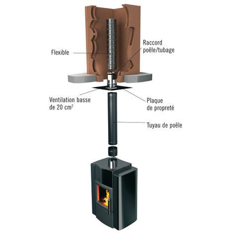 raccord poele tubage flexible inox o140 m x180 186 123143. Black Bedroom Furniture Sets. Home Design Ideas