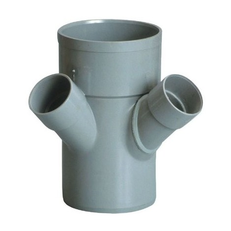 Raccord PVC gris double équerre 45° - Ø 50 - 100 - 50 mm - Triple emboîture - Girpi