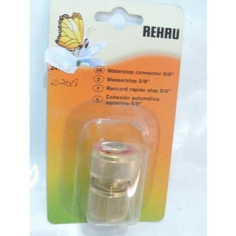 """Raccord rapide stop 5/8"""" métal pour tuyau d'arrosage sous blister REHAU 247028"""