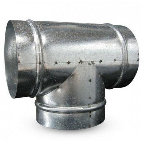 Raccord T en métal 150mm 90° conduit ventilation