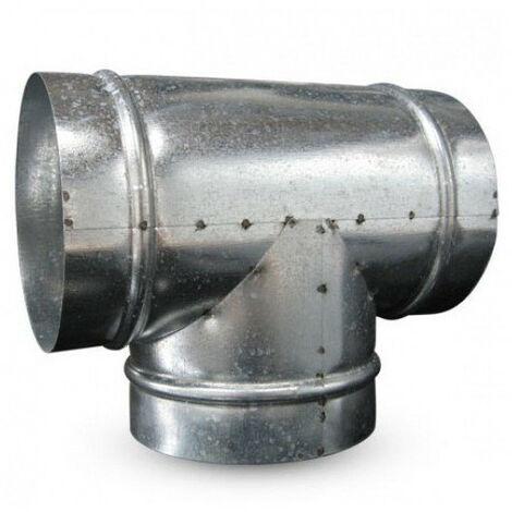 Raccord T en métal 160mm 90° conduit ventilation