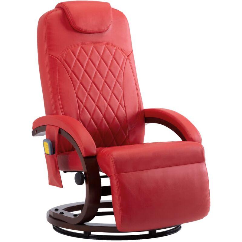 Vidaxl - Fauteuil de Massage TV Similicuir Rouge