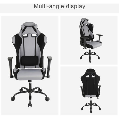 Racing Bürostuhl Chefsessel Sportsitz Drehstuhl Stuhl Rücken verstellbar schwarz