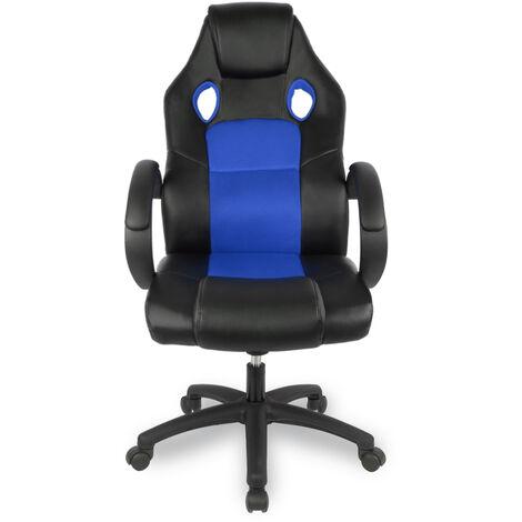 Racing Chefsessel Gaming Stuhl Bürostuhl Drehstuhl Sportsitz Bürosessel Schreibtischstuhl Blau