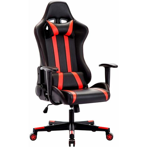 Racing Gaming Stuhl, Gaming Chair, Ergonomischer Bürostuhl, Bürosessel aus PU Kunststoff, Schreibtischstuhl, Computerstuhl mit Kopfkissen und Taillenstütze, 135° kippbare Rückenlehne, Chefsessel, Drehstuhl, Sportsitz, Rot-IWMH