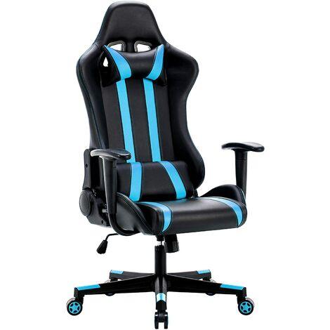 Racing Gaming Stuhl, Gaming Chair, Ergonomischer Bürostuhl, Bürosessel aus PU Kunststoff, Schreibtischstuhl, Computerstuhl mit Kopfkissen und Taillenstütze, 137° kippbare Rückenlehne, Chefsessel, Drehstuhl, Sportsitz, Blau-IWMH