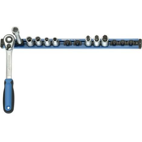 Rack magnétique 1/2'', Utilisation : pour 16 embouts, Dimensions 480 x 33 mm