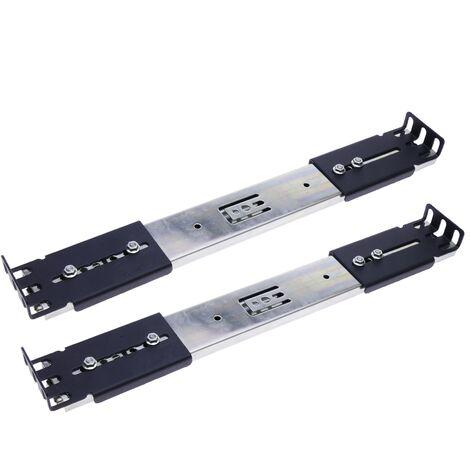 """RackMatic - Guías laterales telescópicas de 350 mm extensibles para caja rack 19"""" IPC"""