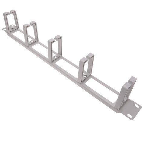 """RackMatic - Panel guíacables para armario rack 19"""" 1U con 5 anillas para gestión de cables blanco"""