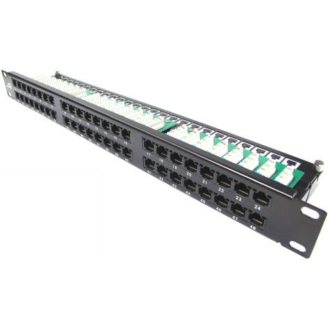 RackMatic - Patch panel de 48 RJ45 Cat.5e UTP 1U negro