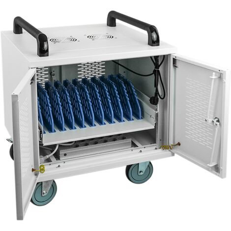 RackMatic - Transport rack cart for 10 laptop, notebook and tablet white