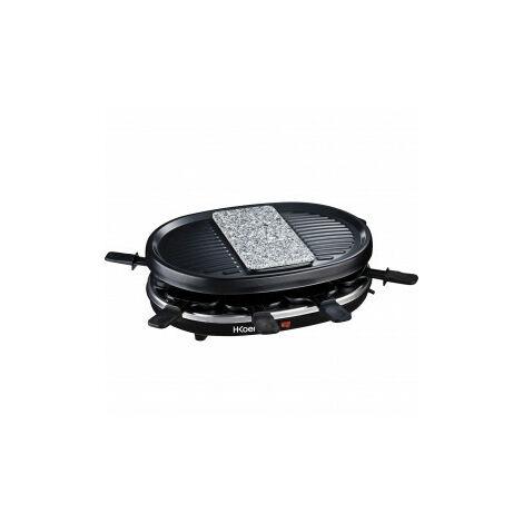 Raclette Grill e Pietra di cottura per 8 persone H.Koenig RP80 Nero