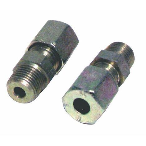Racor de compresión recto M1/4 x tubo 8mm (X 2) - DIFF