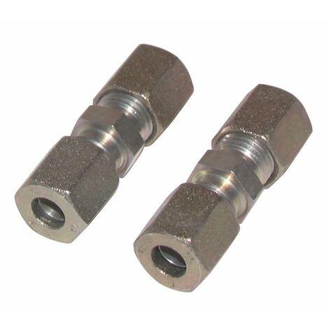 Racor de compresión recto tubo 12mm x tubo 12mm (X 2) - DIFF