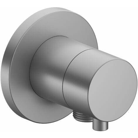 Racor Keuco IXMO 59541, válvula de cierre con conexión para manguera empotrada, roseta redonda, mango IXMO Comfort, color: acabado en aluminio - 59541171101