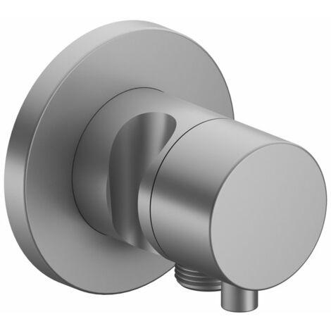 Racor Keuco IXMO 59548, válvula conmutadora de 3 vías con conexión de manguera y soporte oculto para el cabezal de ducha, maneta Comfort 59548, color: níquel cepillado - 59548051201