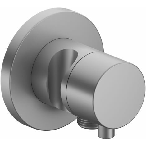 Racor Keuco IXMO 59549, válvula de cierre y conmutación de 3 vías con conexión de manguera y soporte del cabezal de ducha, roseta redonda, maneta Comfort, color: Negro cromo cepillado - 59549131201