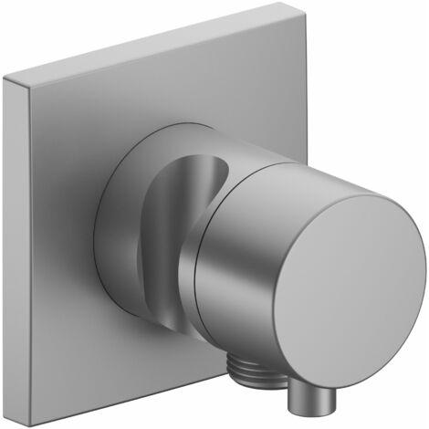 Racor Keuco IXMO 59549, válvula de cierre y conmutación de 3 vías con conexión de manguera y soporte para regadera, roseta cuadrada, maneta Comfort, color: acabado en aluminio - 59549171202