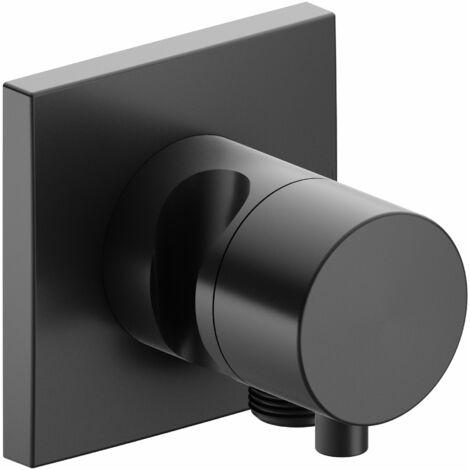 Racor Keuco IXMO 59549, válvula de cierre y conmutación de 3 vías con conexión de manguera y soporte para regadera, roseta cuadrada, maneta Comfort, color: Negro cromo cepillado - 59549131202