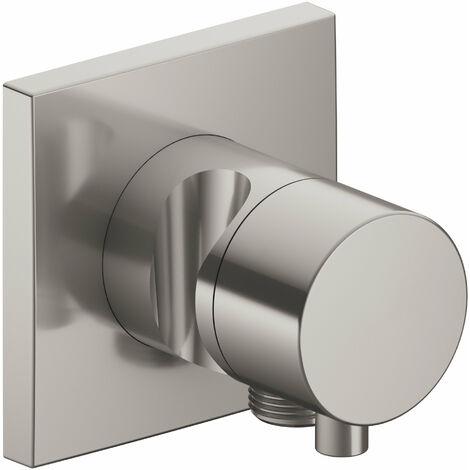 Racor Keuco IXMO 59549, válvula de cierre y conmutación de 3 vías con conexión de manguera y soporte para regadera, roseta cuadrada, maneta Comfort, color: níquel cepillado - 59549051202