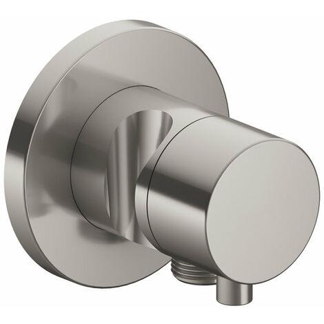 Racor Keuco IXMO 59556, válvula conmutadora de 2 vías con conexión de manguera y soporte oculto para el cabezal de ducha, maneta Comfort, color: níquel cepillado - 59556051201