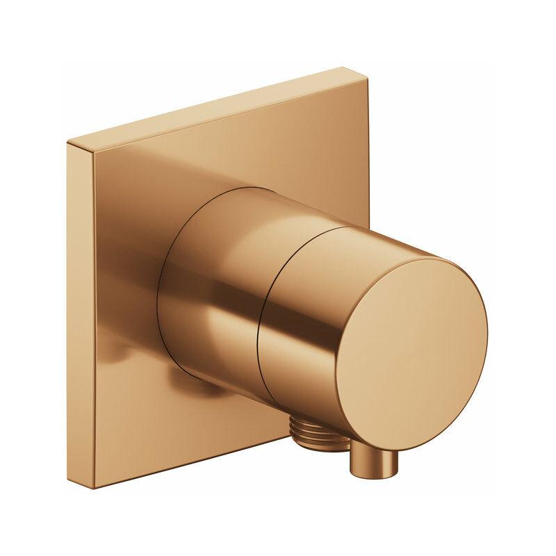 Racor Keuco IXMO 59556, válvula conmutadora de 2 vías con conexión para manguera empotrada, roseta cuadrada, maneta Comfort, color: bronce cepillado