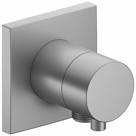 Racor Keuco IXMO 59556, válvula conmutadora de 2 vías con conexión para manguera empotrada, roseta cuadrada, maneta Comfort, color: níquel cepillado - 59556051102
