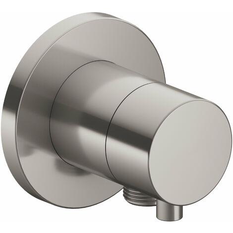 Racor Keuco IXMO 59556, válvula conmutadora de 2 vías con conexión para manguera empotrada, roseta redonda, maneta Comfort, color: Acabado en acero inoxidable - 59556071101