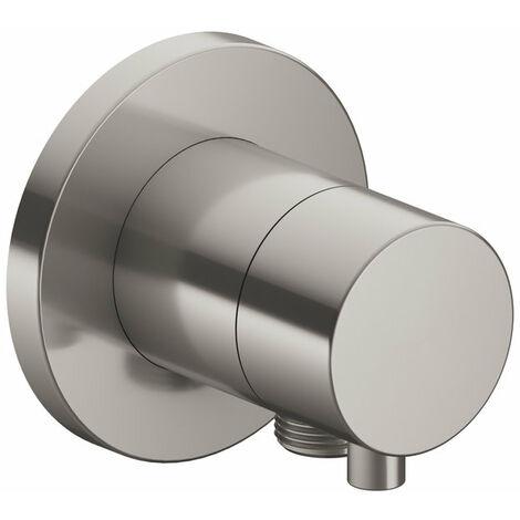 Racor Keuco IXMO 59556, válvula conmutadora de 2 vías con conexión para manguera empotrada, roseta redonda, maneta Comfort, color: níquel cepillado - 59556051101