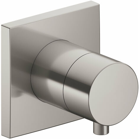 Racor Keuco IXMO 59557, válvula de cierre y conmutación empotrada de 2 vías, roseta cuadrada, maneta Comfort, color: níquel cepillado - 59557051002
