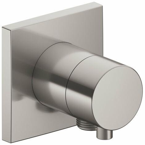 Racor Keuco IXMO 59557, válvula de cierre y de conmutación de 2 vías empotrada con conexión de manguera, roseta cuadrada, maneta Comfort, color: níquel cepillado - 59557051102