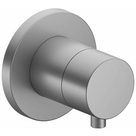 Racor Keuco IXMO 59557, válvula de cierre y de conmutación empotrable de 2 vías, roseta redonda, maneta Comfort 59557, color: níquel cepillado - 59557051001