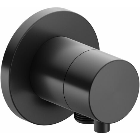 Racor Keuco IXMO 59557, válvula de cierre y de conmutación empotrable de 2 vías, roseta redonda, maneta Comfort, color: Negro cromo cepillado - 59557131101