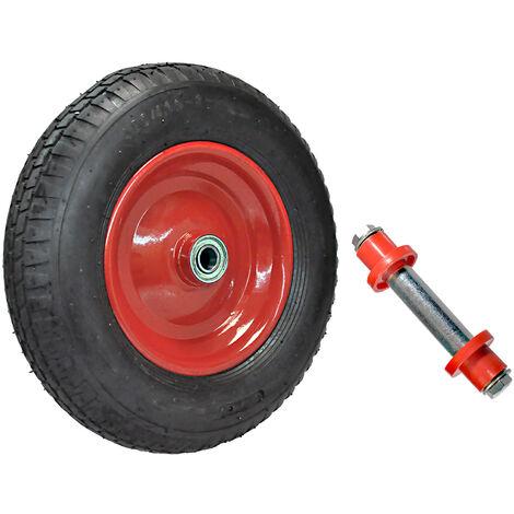 Rad-Reifen 400mm rot 4.80/4.00-8 für Schubkarre Sackkarre Reifen auf Stahlfelge incl. Achse
