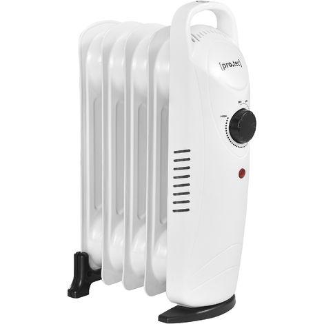 Radiador de aceite eléctrico - 5 elementos - 24 x 13,4 x 37 cm - Portátil - Potencia 500W - Calefacción - CEE 7/7 - Termostato regulable - Blanco