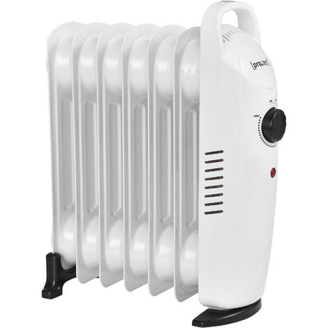 Radiador de aceite eléctrico - 7 elementos - 31,5 x 13,4 x 37 cm - Portátil - Potencia 700W - Calefacción - CEE 7/7 - Termostato regulable - Blanco