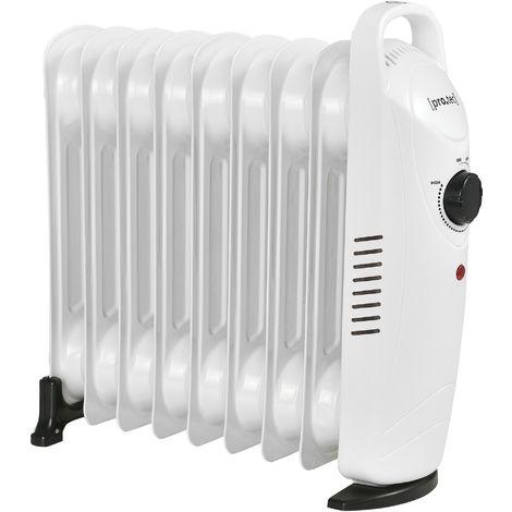 Radiador de aceite eléctrico - 9 elementos - 39 x 13,4 x 37 cm - Portátil - Potencia 1000W - Calefacción - CEE 7/7 - Termostato regulable - Blanco